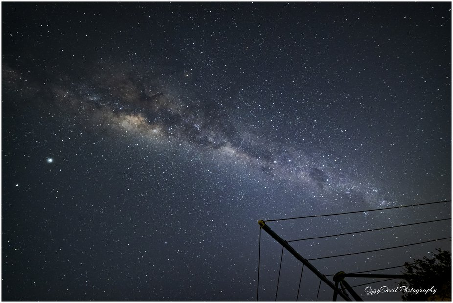 Milky Way with the Southern Cross, the Hills Hoist, Jupiter & Saturn