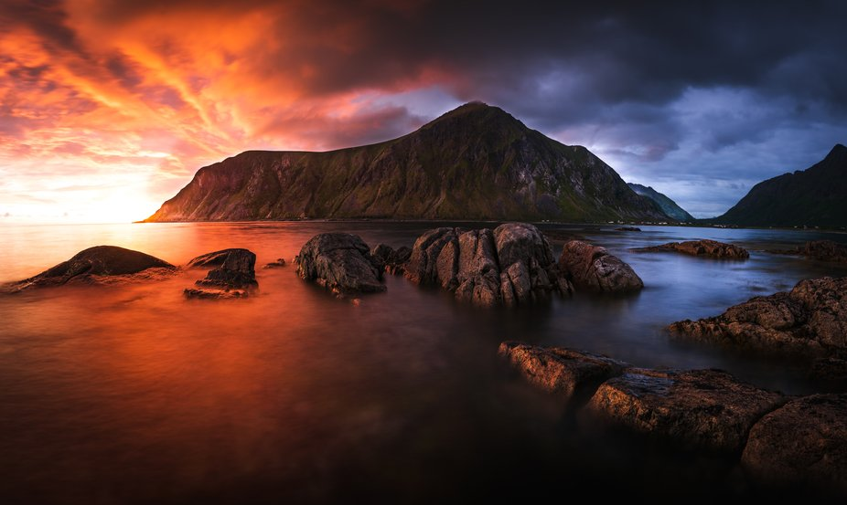 Long exposure panorama at sunset of Hustinden mountain.     Taken with wide angle Sigma 24mm Art ...