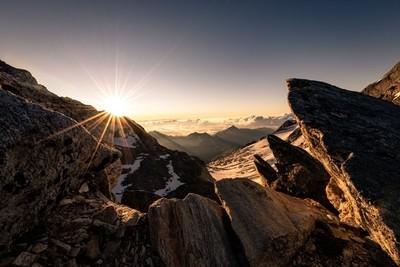 Rocky Sunrise in Swiss Alps, 10'800 feet above sea level