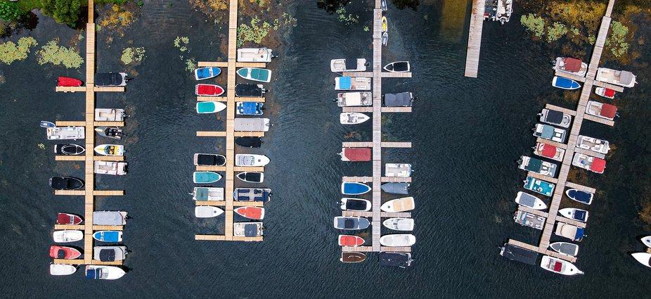 Boats docked at the Saratoga Marina, Saratoga Springs, NY