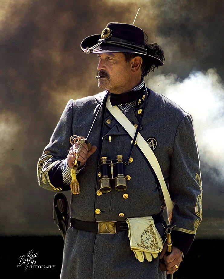 Civil War in the heat of the battlefield accessing the troops. Kearney Park Reenactment