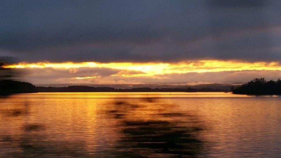 Beautiful Alabama sunset on the water.