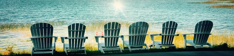 Chairs infro t of the lake at westgate resorts in orlando florida