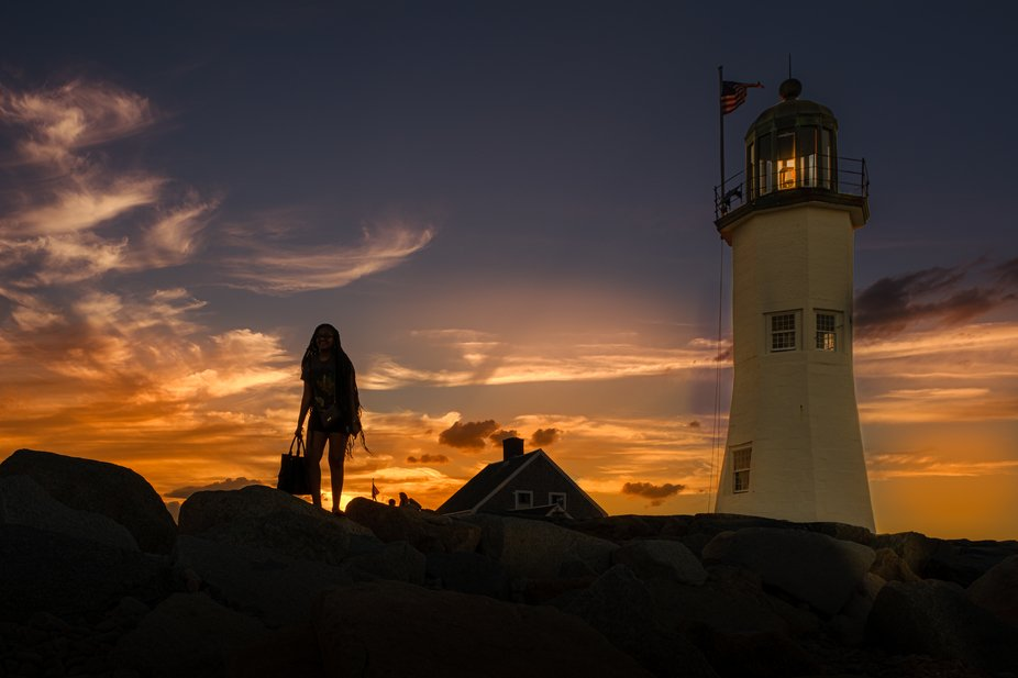 sunset at Scituate Lighthouse