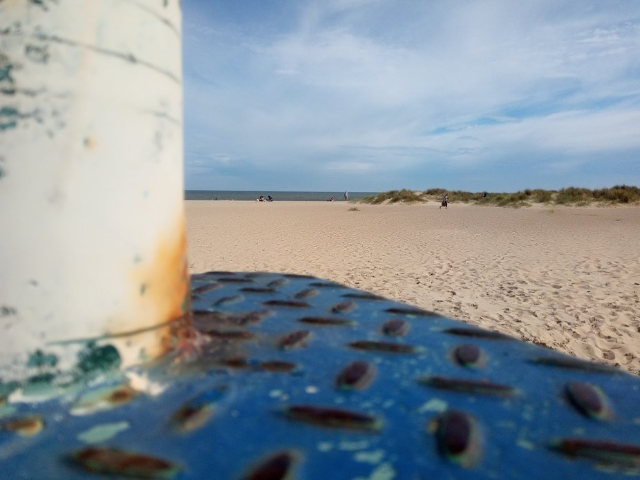 This was taken next to the beach next to an old lamppost.