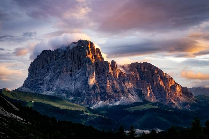 Sassolungo at sunset by plur44 - Image Of The Month Photo Contest Vol 60