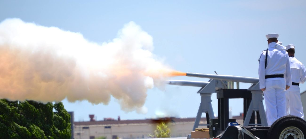 This is a picture of the 21 gun salute done on the Norfolk Naval Base for Memorial Day 2013.