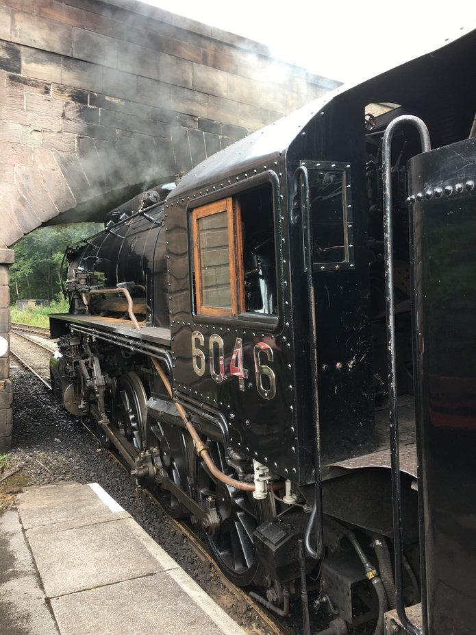 U.S.A. steam rail 6046 on The Churnet Valley Railway. Note the black smoke discolouring the bridge.