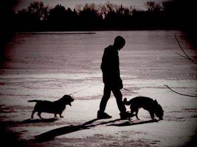 On feozen pond
