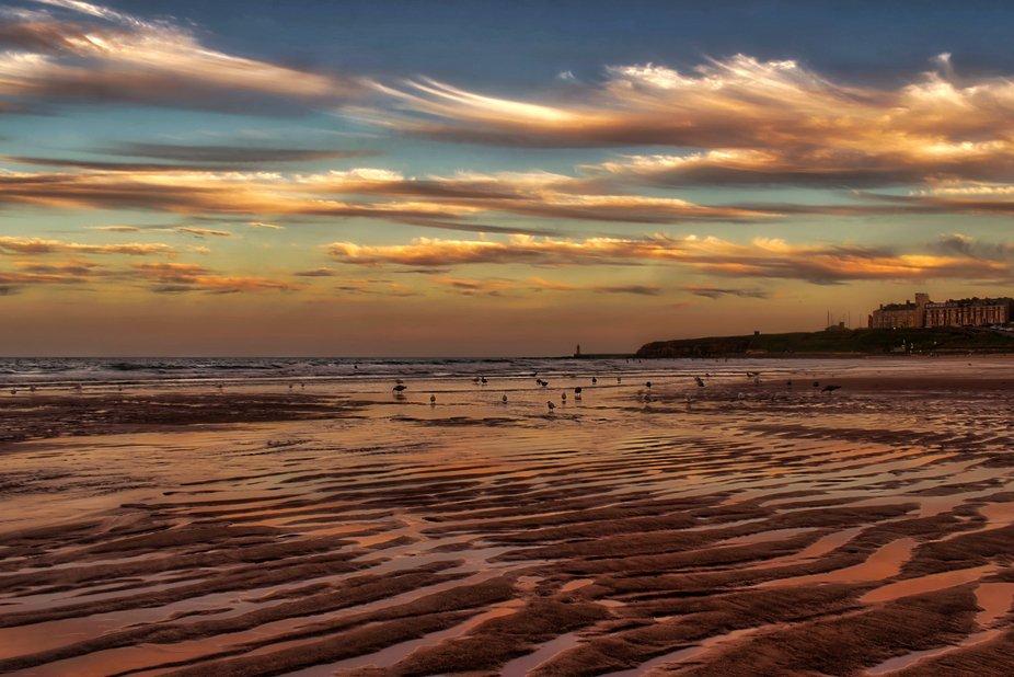 Tynemouth beach at sunset