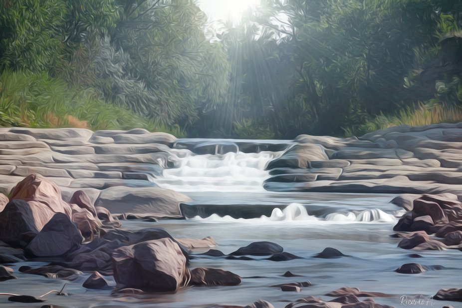 Oil paint effect of stream