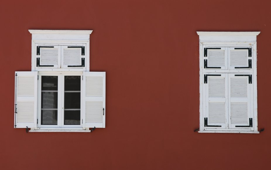 White Windows in Red Background