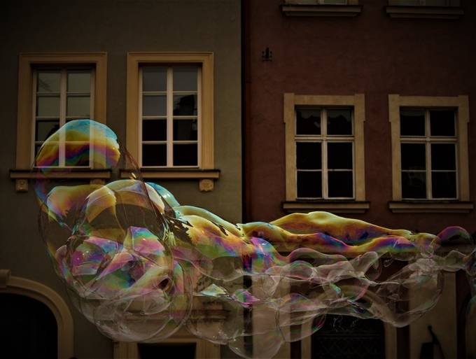 Dancing bubbles in the main square in Poznan, Poland