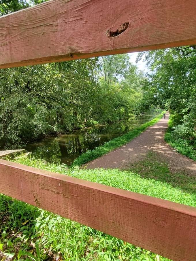 following the bike path on the foot bridge, Washington's Crossing,  Pa