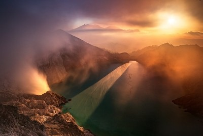 The sunset of Ijen Crater