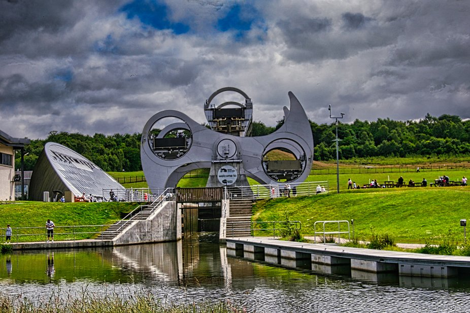 The Falkirk Wheel in Scotland. A device for raising Canal levels instead of locks.