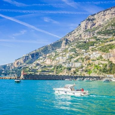 The coastline of Amalfi on the ferry to Capri.