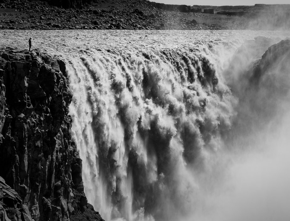 Amazing Dettifoss.  First visit to this waterfall with my brother Martin (posing in the top left ...