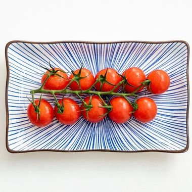 a vine of cherry tomatoes on a ceramic rectangle plate with a blue pattern