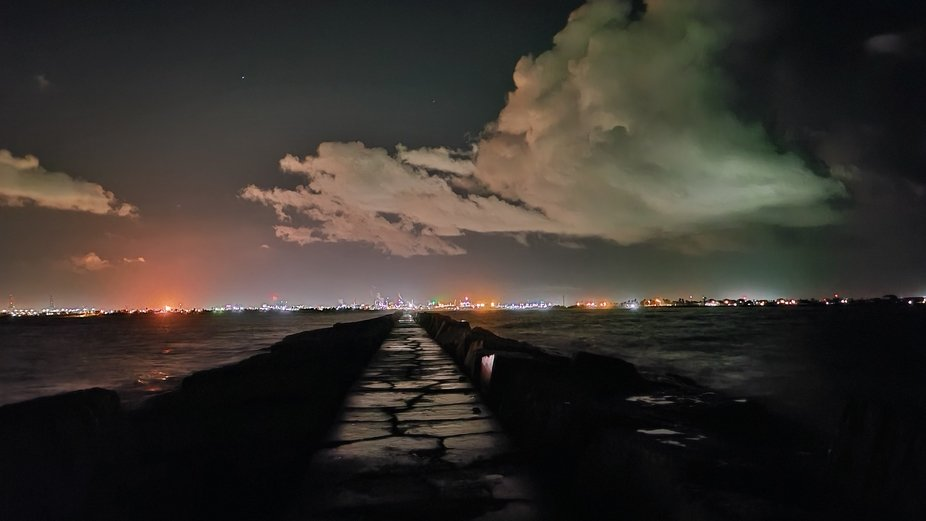 Once was a beautiful beach now lines with chemical plants, even though it makes a cool picture th...