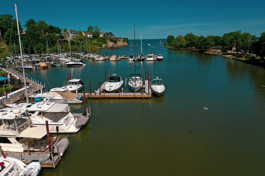 Aerial Photo, taken with my DJI Mavic Pro 2 Drone, of Boats lined up for the day and the Rocky Ri...