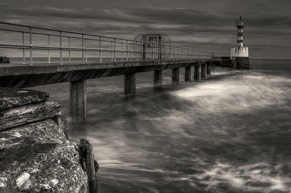 black & white pier lighthouse