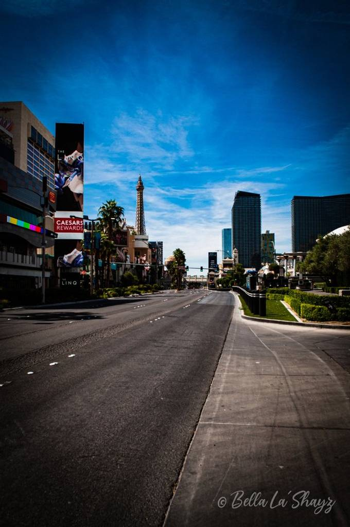 This is an image of the Vegas Strip taken during the mandatory shutdown order due to Covid-19