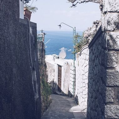 A pathway up the island of Capri
