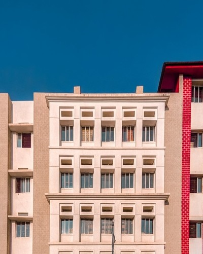 Straight facade of a building