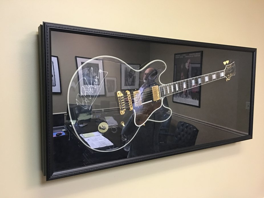 Tom Davis-reflected in the glass containing Lucille...given to him  by Riley B King !