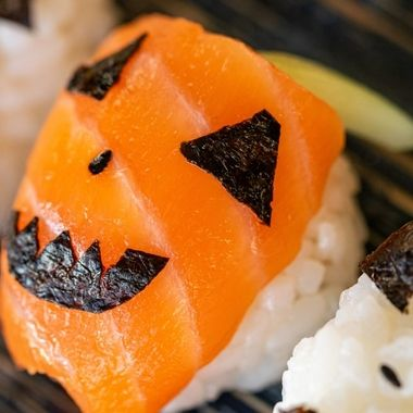 a holiday sushi roll dish with a Halloween theme for kids to enjoy at Halloween close up