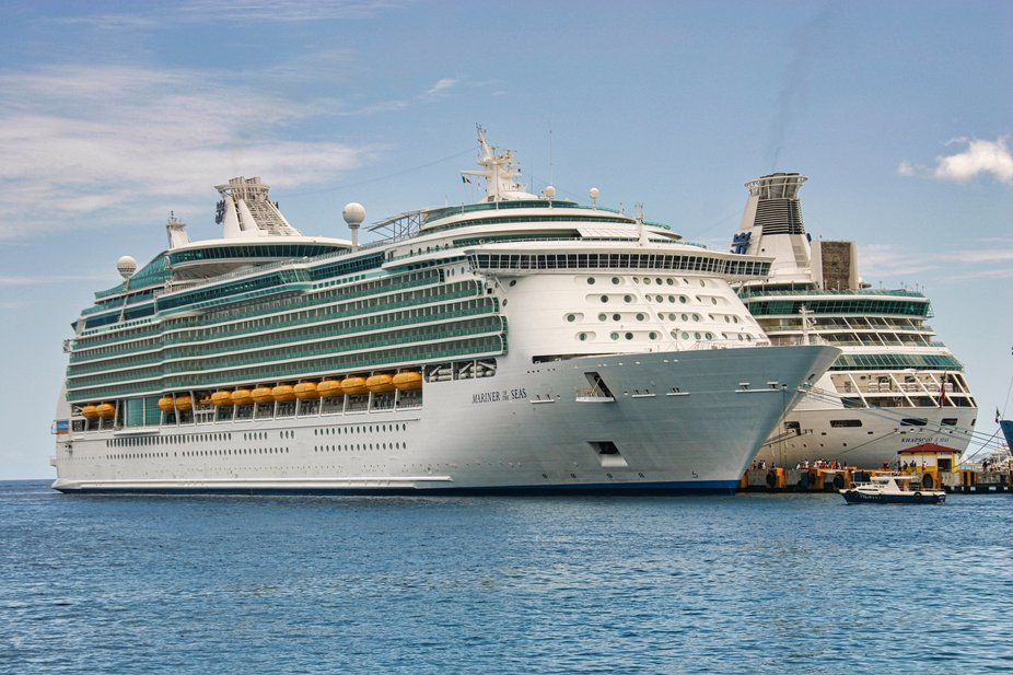 Royal Caribbean's Mariner of the Seas and Rhapsody of the Seas at Cozumel.