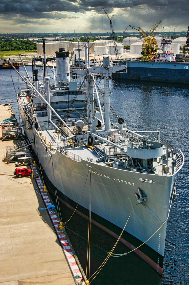 "The Liberty ship ""American Liberty"" docked at Tampa Port FL."