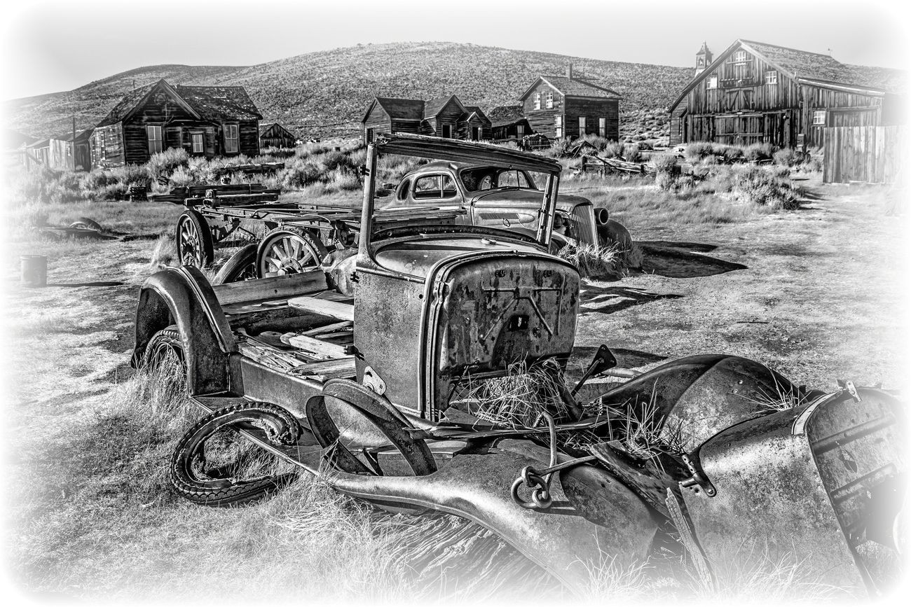 Cars in the Bodie Ghost Town in Bodie California.