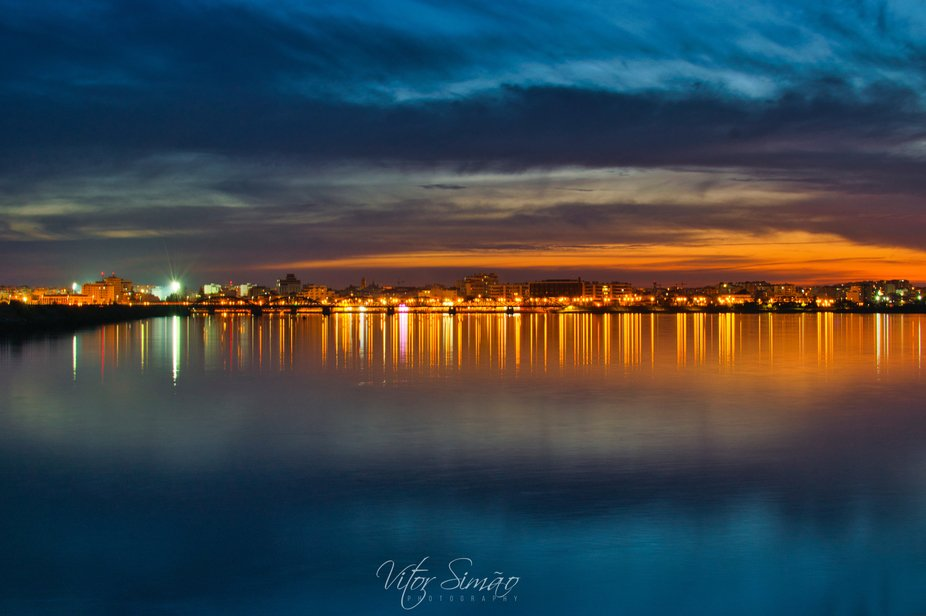 Sunsets over Ferragudo town and its river