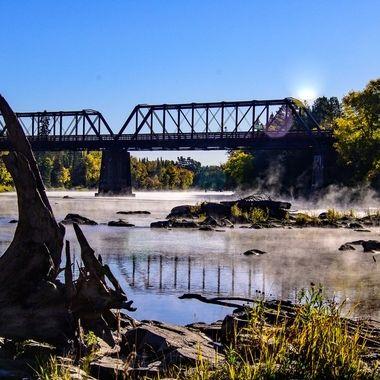 Foggy fall morning on the Bigfork River just above the rapids at Bigfalls, Mn.