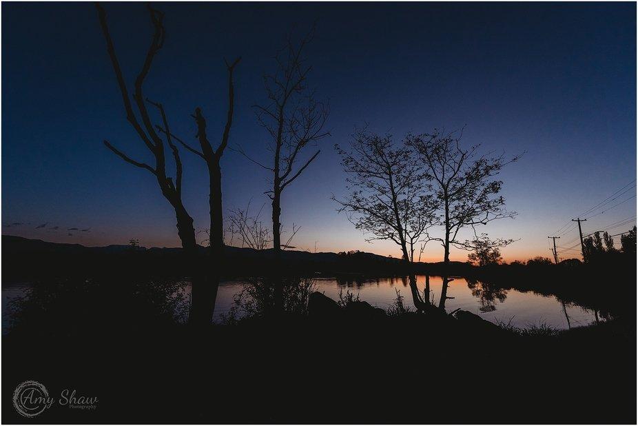 evening landscape silhouette