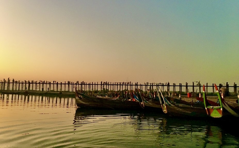Visiting Myanmar at U Bein Bridge Sunset
