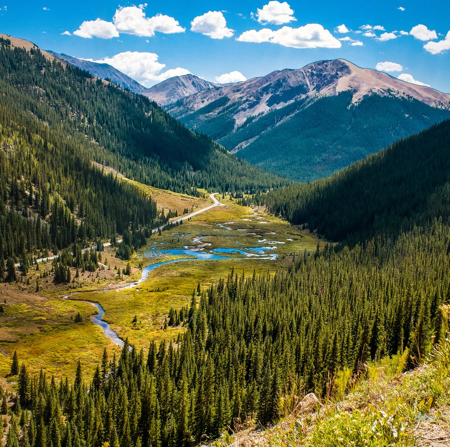 Looking at the river from the road to Independence Pass Colorado