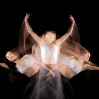 Long exposure during which the flashes were fired three times, resulting in three separate exposures of the dancer (the gifted Sharon Weijtmans). 