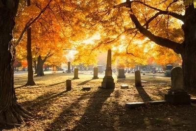 Autumn cemetery sunrise