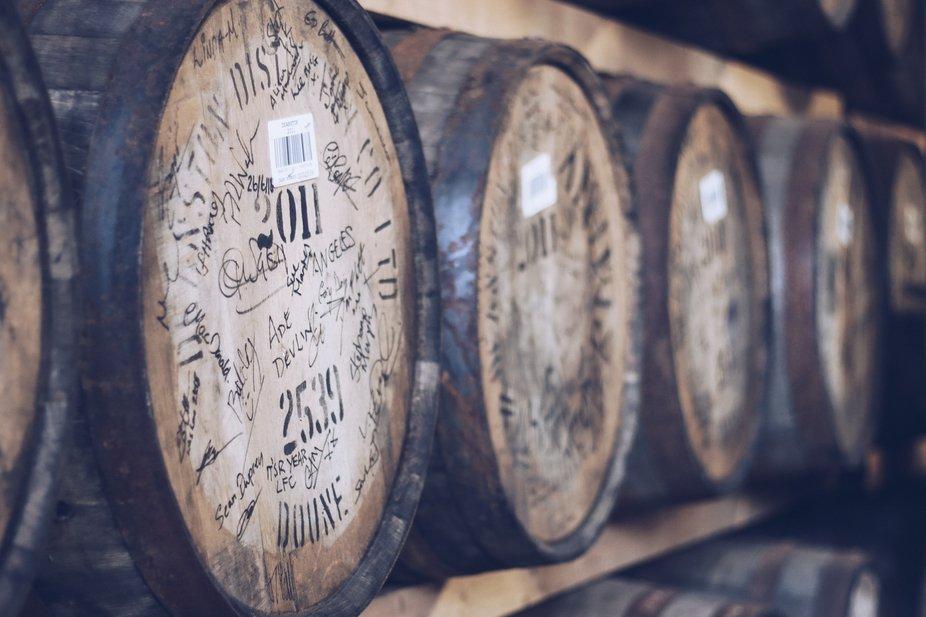 Whiskey barrels in Deanston Distillery