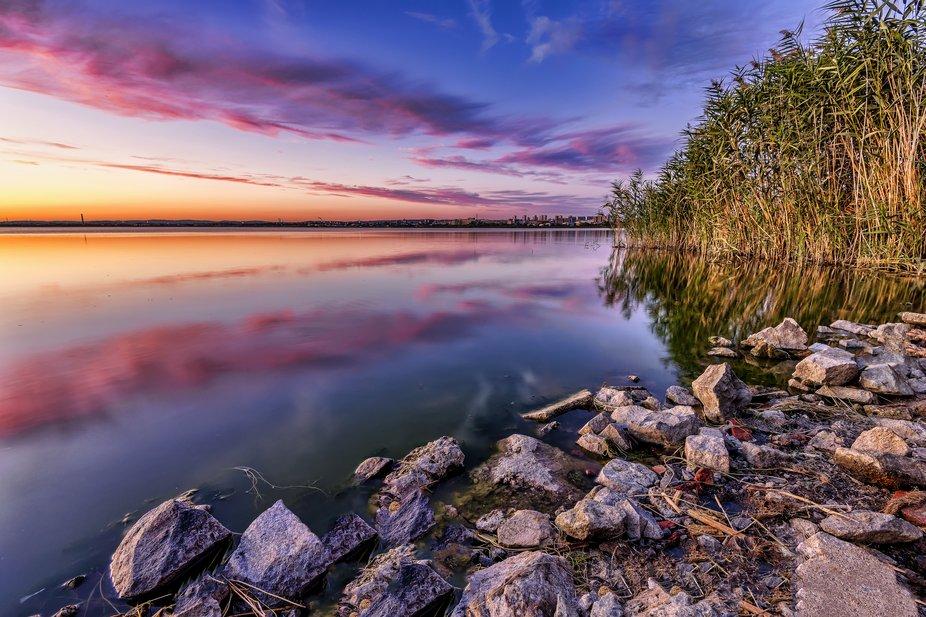 Sunset over Lake Vaya in Burgas, Bulgaria