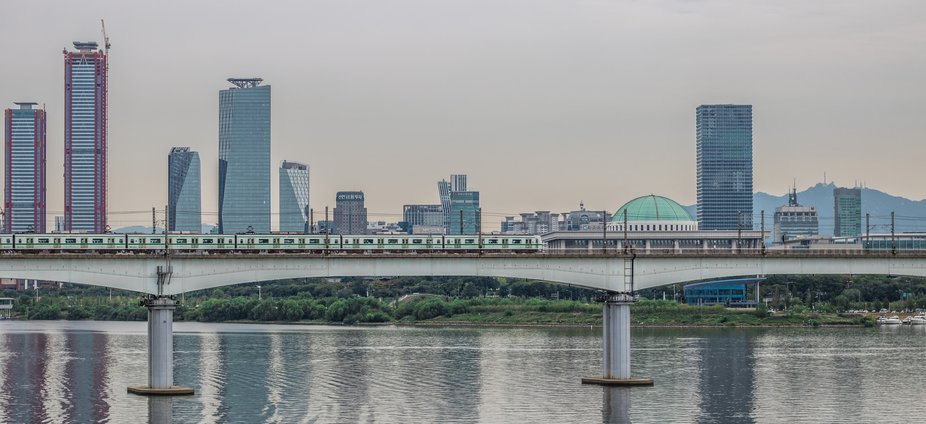 I went on a cycle ride around Seoul and stopped on a bridge to capture this shot. I Love Seoul!