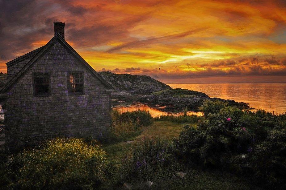 Fire sky taken on Monhegan Island Maine.  Copywrite Charles Vandersluys