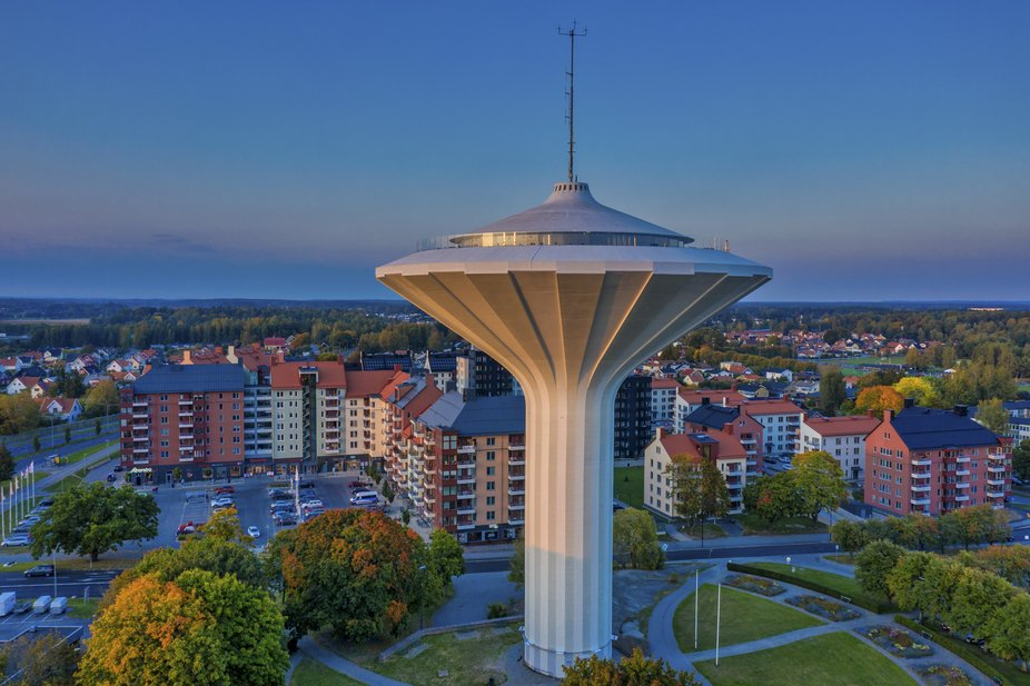 The beautiful water tower of Orebro, Svampen (The Mushroom), in the sunset. Shot with my drone, D...