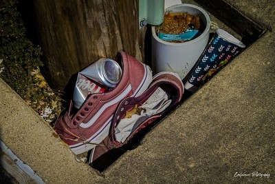 Discarded tennis shoes