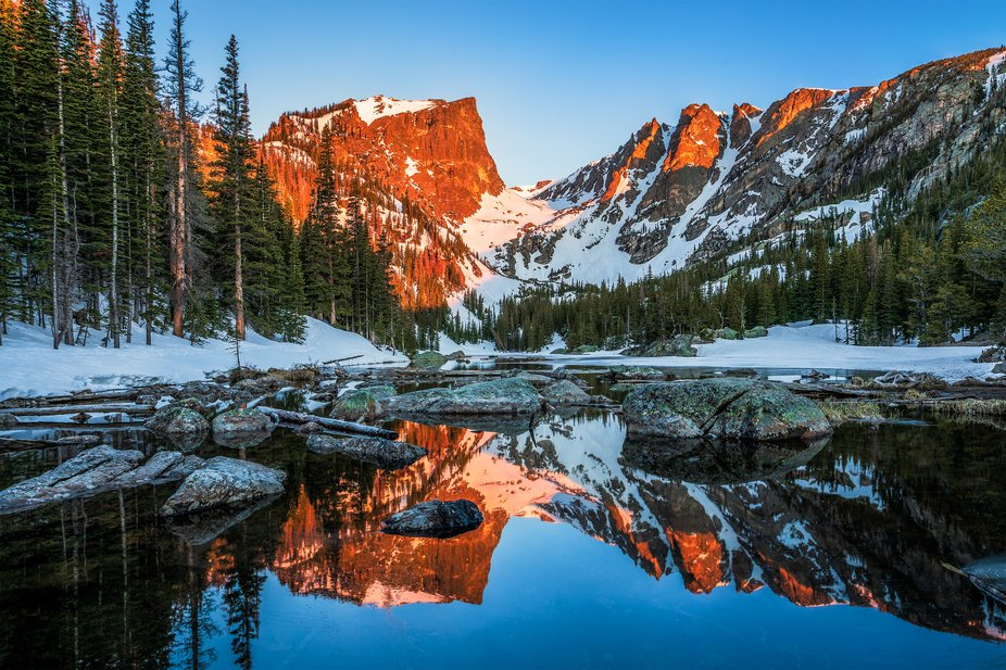 I hoped to capture a spectacular sunrise reflecting off Dream Lake.  Instead, I got a carbon-copy...