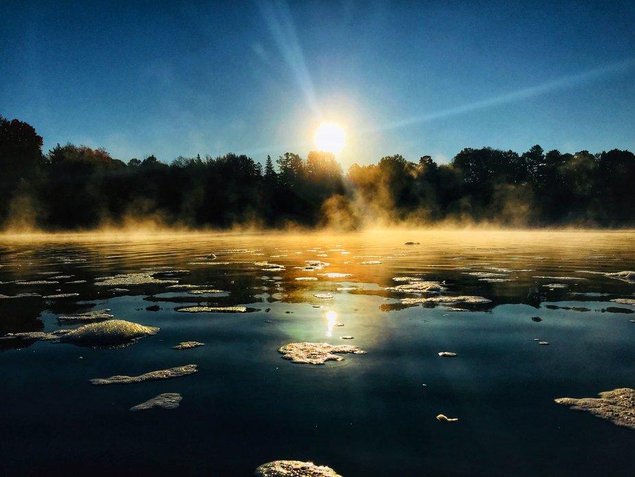 Sunrise misty rideau river