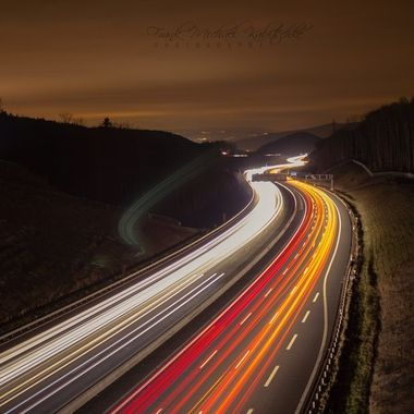 Light painting on a Highway